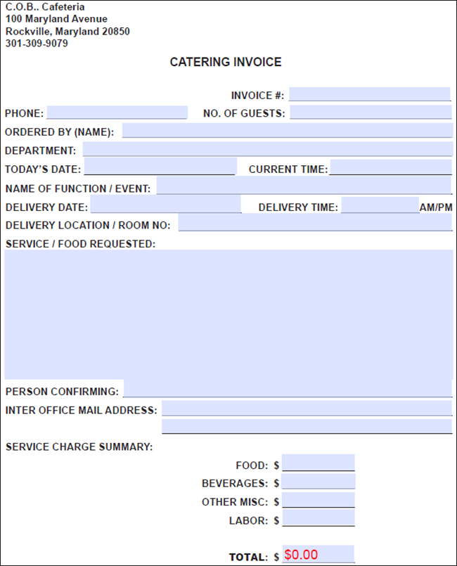 Sample Catering Invoice Adobe Pdf Microsoft Word Doc Free Catering