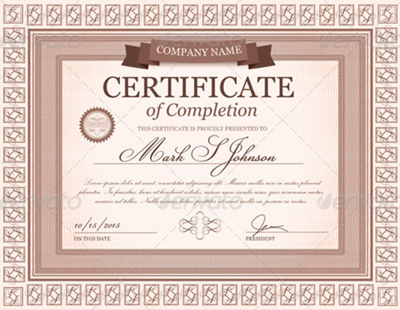 Certificate Of Completion Template U0026 Vector ...  Certificates Of Completion Templates