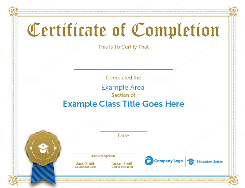 Sample Completion Certificate Templates Download  Creative Template