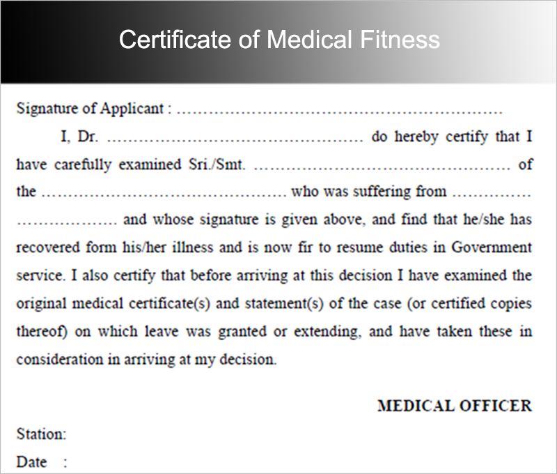Certificate of Medical Fitness