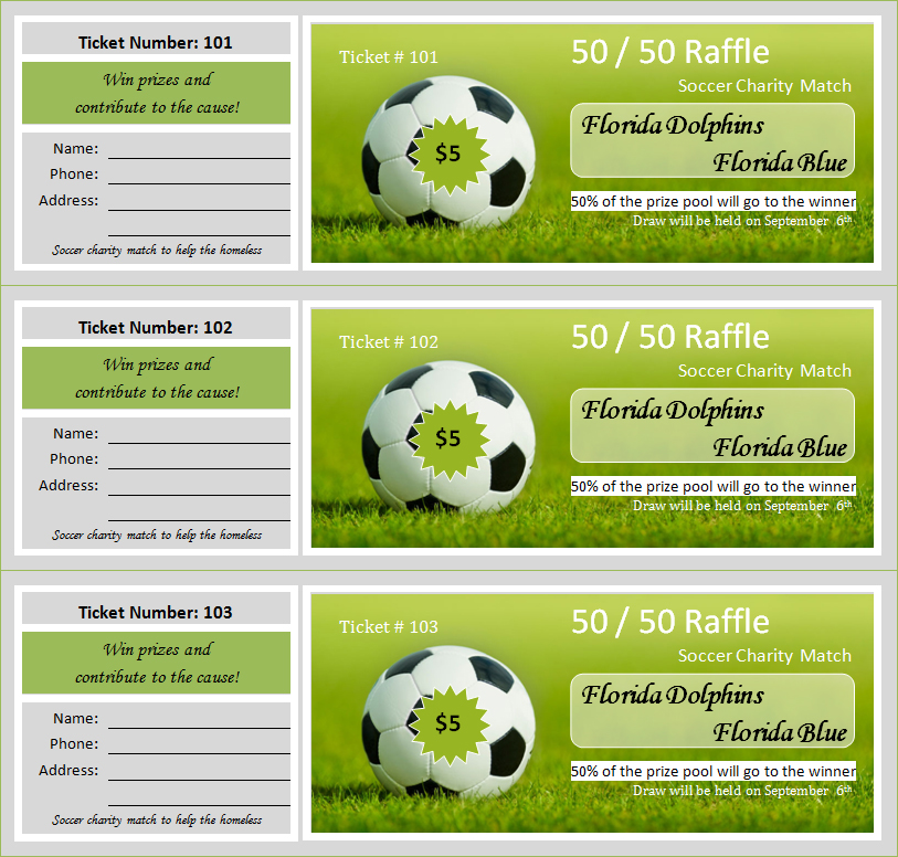 Charity Raffle Ticket Template