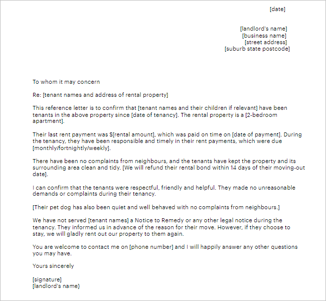 Child Reference Letter Template