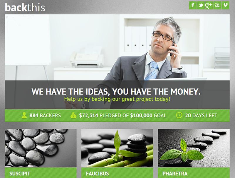 Crowdfunding PSD Landing Page
