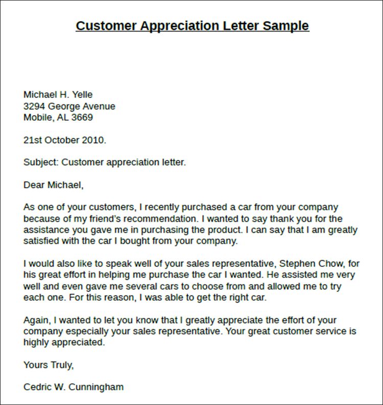 Customer Appreciation Letter