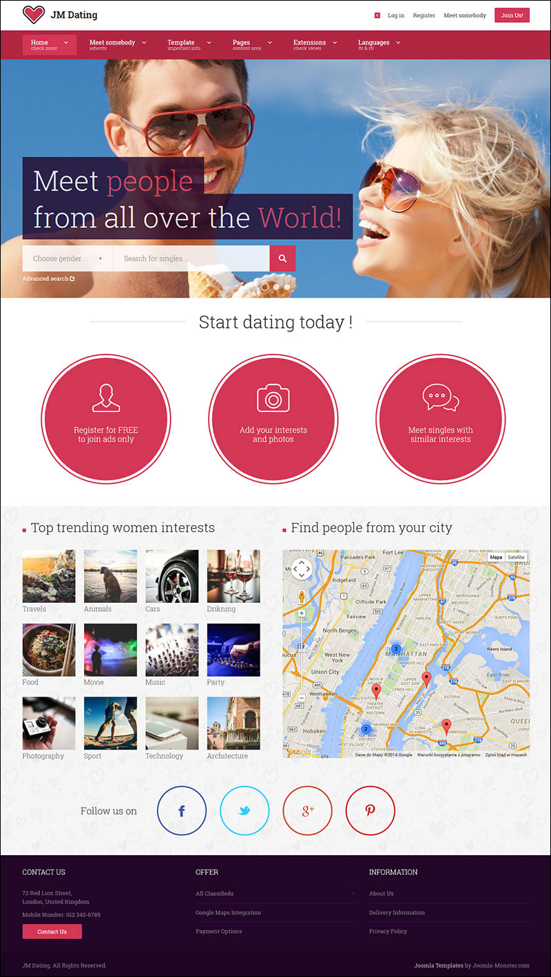 Dating Joomla Template With Unlimited Colors