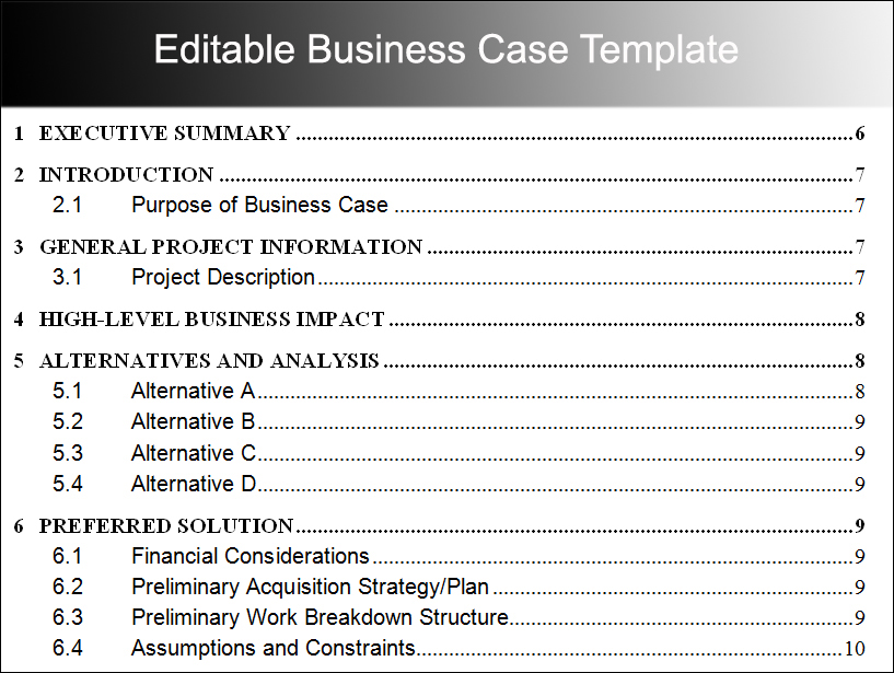 Editable Business Case Template