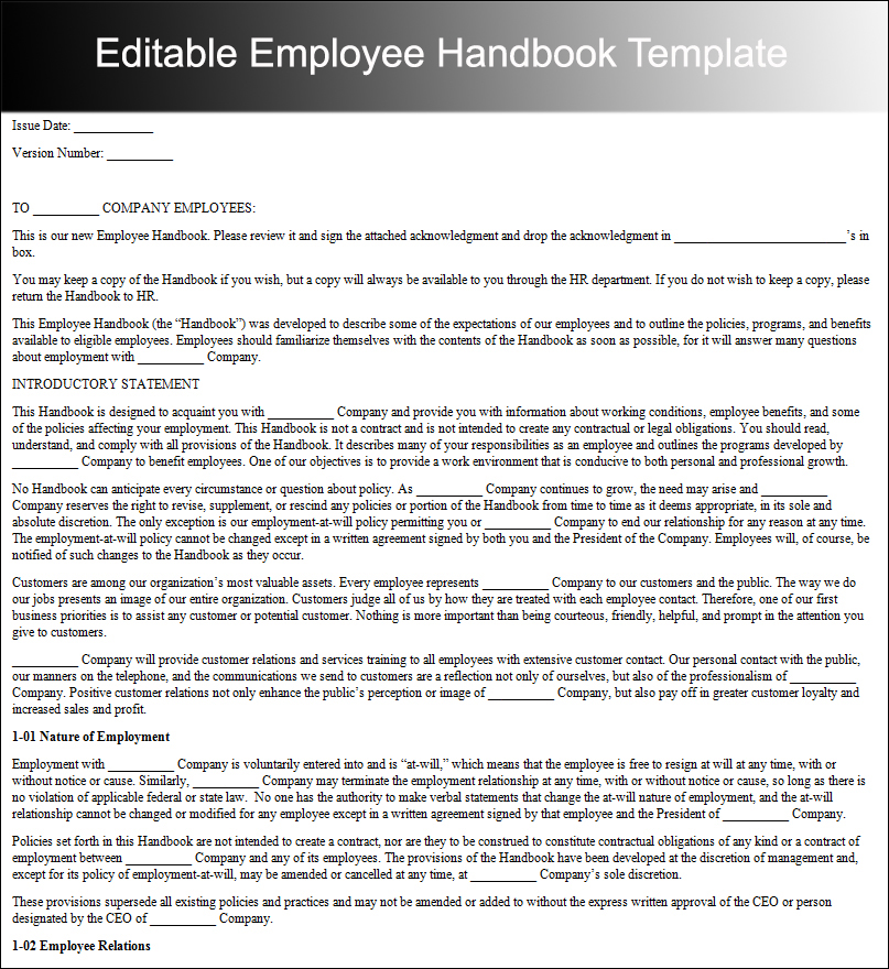 Editable Employee Handbook Template