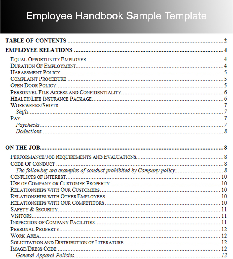 Employee Handbook Sample Template