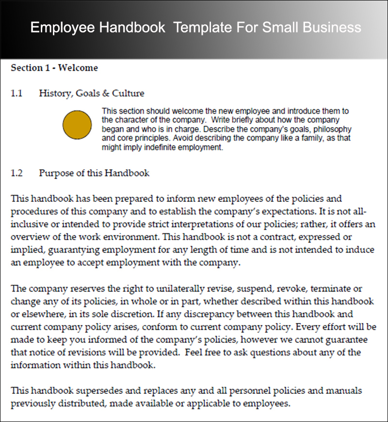 10 employee handbook templates free word pdf doc samples for Small business operations manual template free