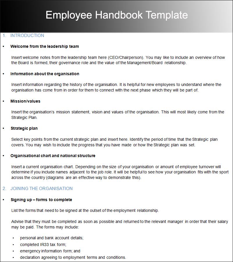 Employee Handbook Templates Free Word PDF Doc Samples - Basic employee handbook template