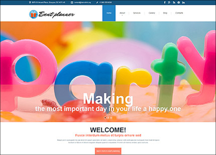 Event Planner ResponsiveWebsite Template