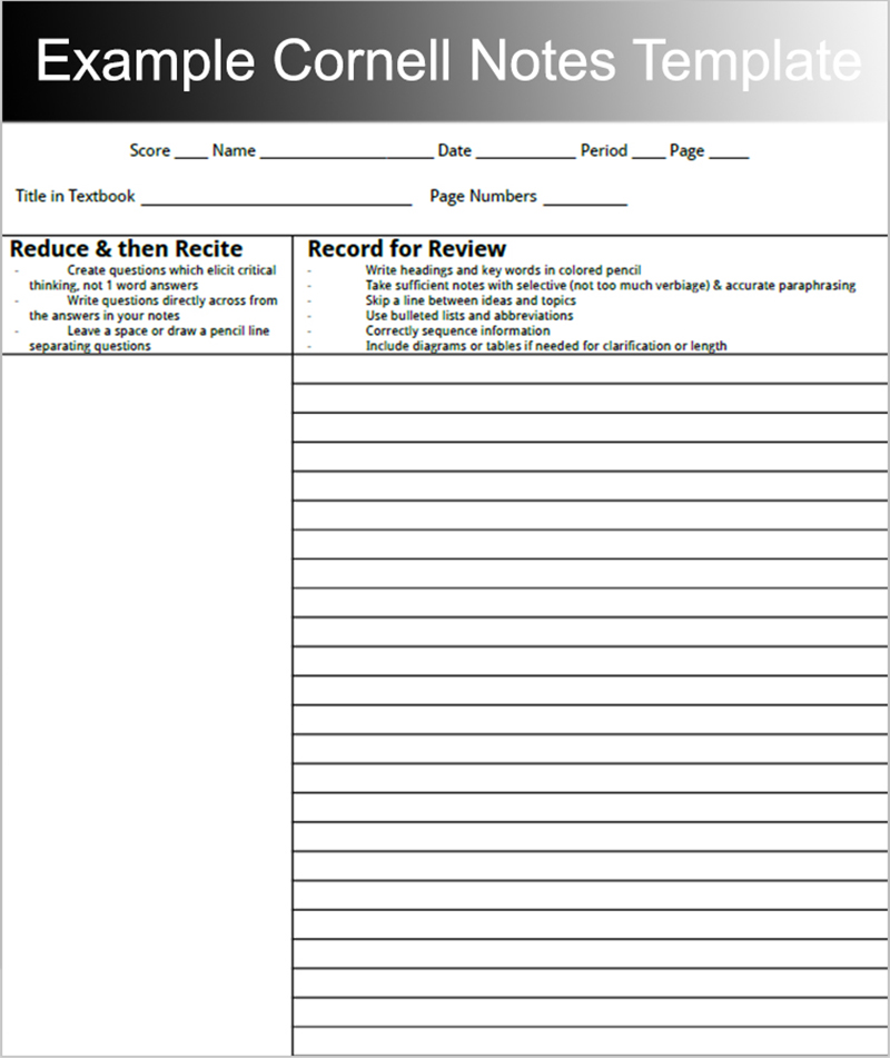 Chapter Summary Template Cornell Notes  Google Search