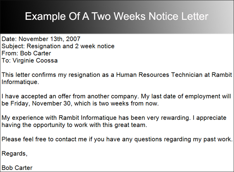 Example Of A Two Weeks Notice Letter