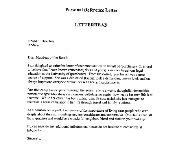 Example Of Reference Letter Template