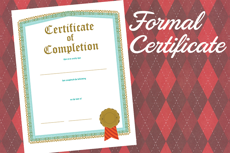 Formal Certificate Of Completion Template