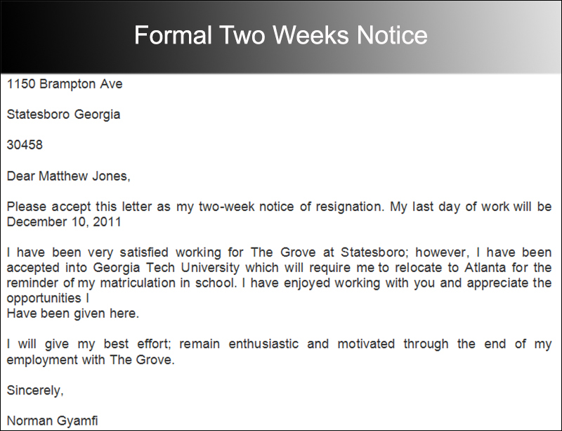 Formal Two Weeks Notice