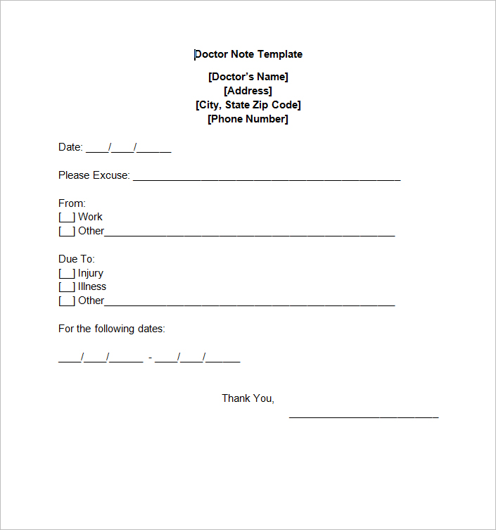 Free Doctor Note templates