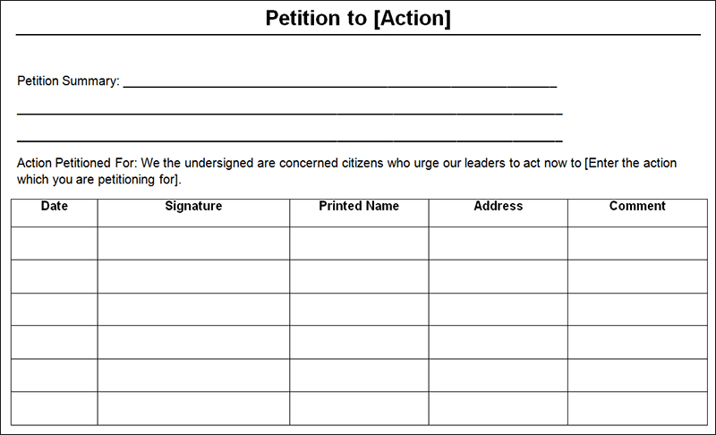 Free Petition Template