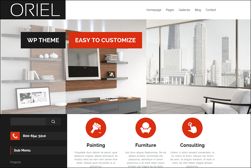 Fully Editable Interior Design WordPress Theme