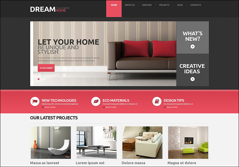 Fully Editable WordPress Interior Design Theme