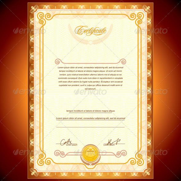 Golden Certificate Template