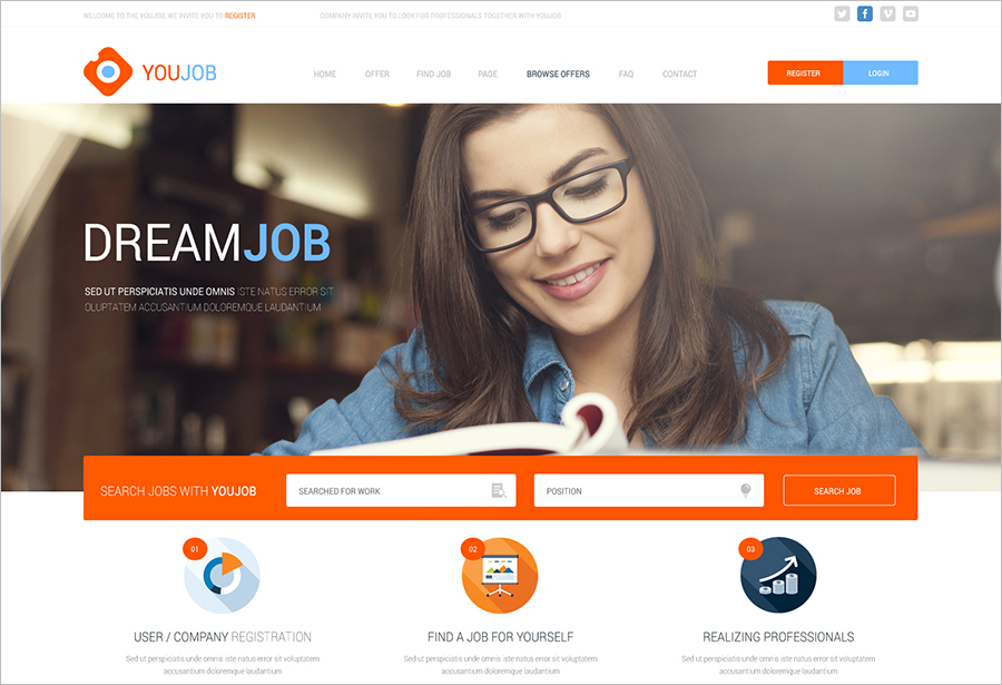 HTML & CSS Template For Job Portal