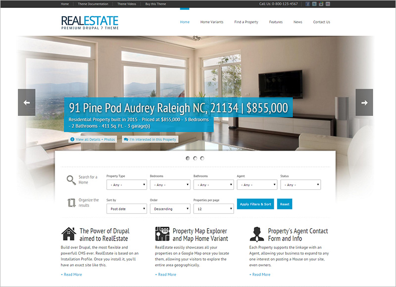 HTML5 & CSS3 Drupal Theme for creating Real Estate Sites