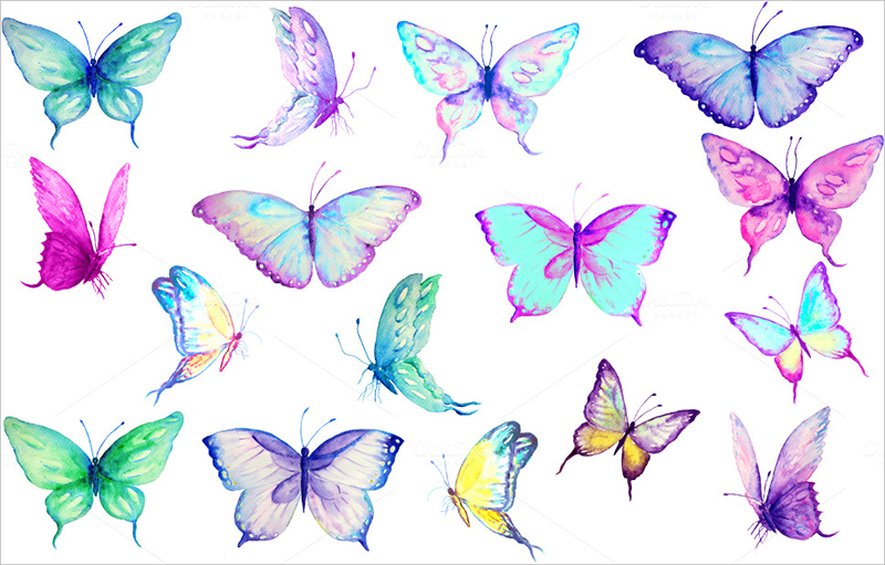 Hand painted Watercolor Butterflies
