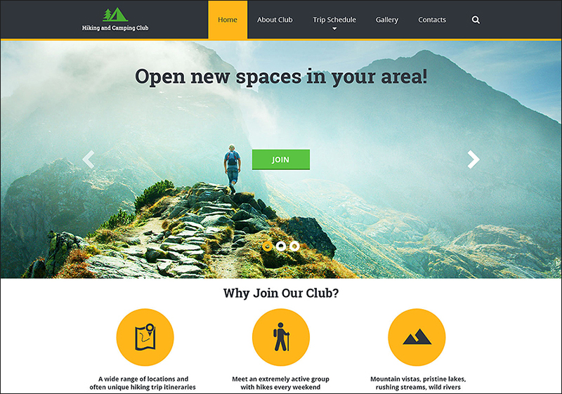 Hiking HTML Parallax Website Template