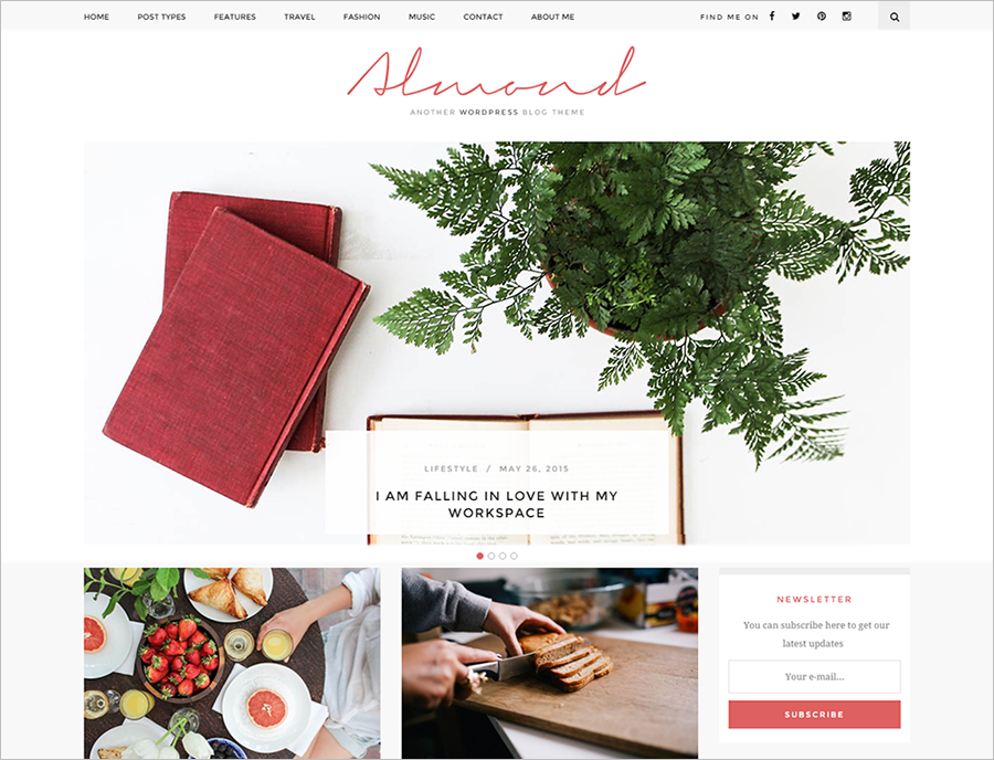 Inspiring Blog WordPress Theme SEO Friendly
