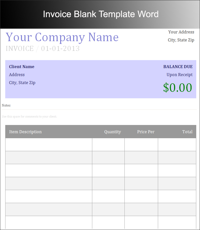 Invoice Blank Template Word