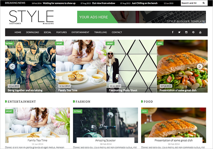 Magazine Blogger Website Template