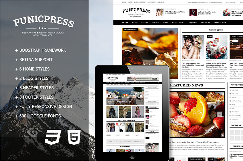 Magazine Blogging HTML5 Template