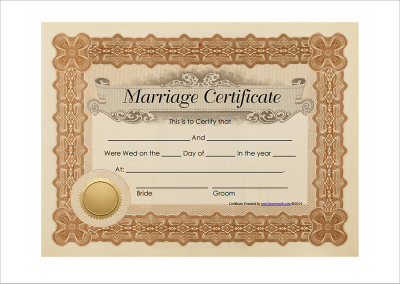 marriage certificate template free .