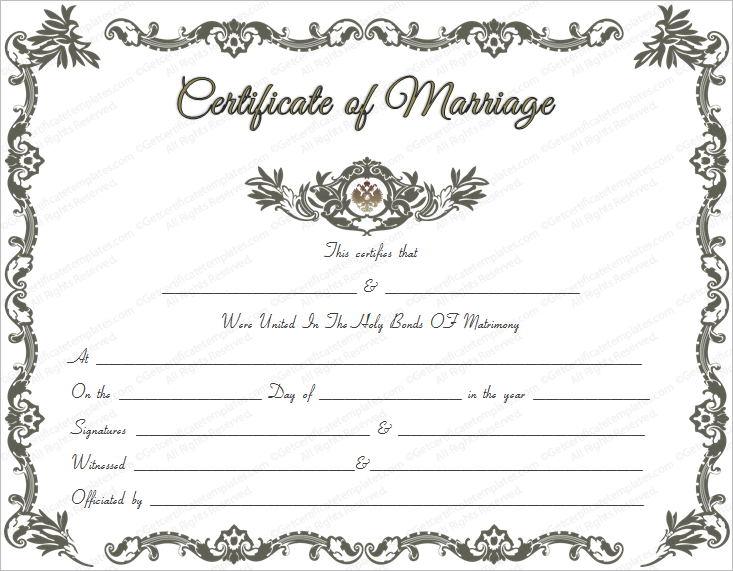 vintage marriage certificate template marriage certificate template ...