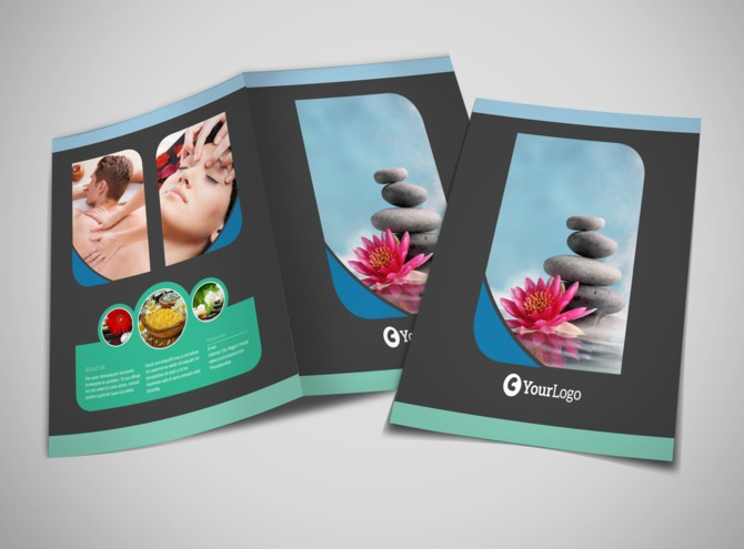 Massage Therapy Spa Bi-Fold Brochure Template