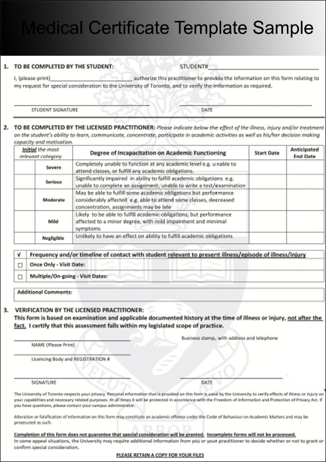 Medical Certificate Template Sample