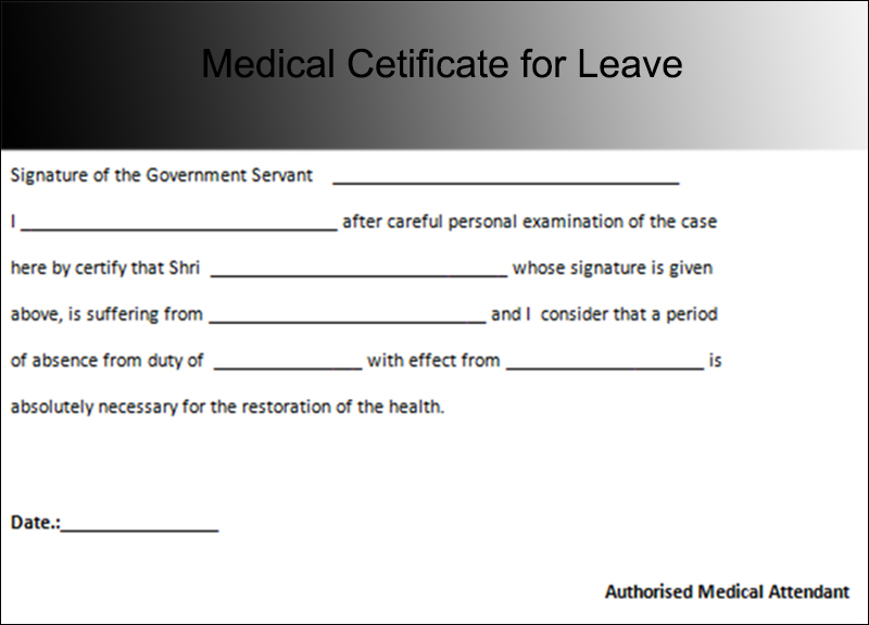 Medical Cetificate For Leave