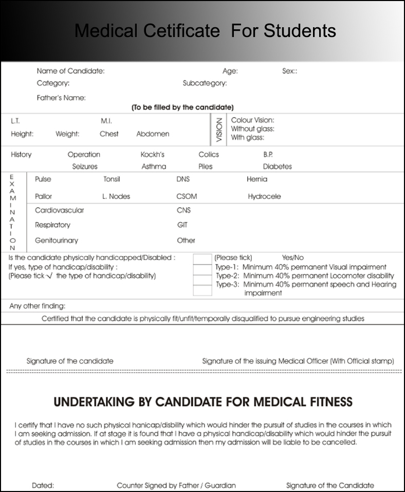 Medical Cetificate For Students