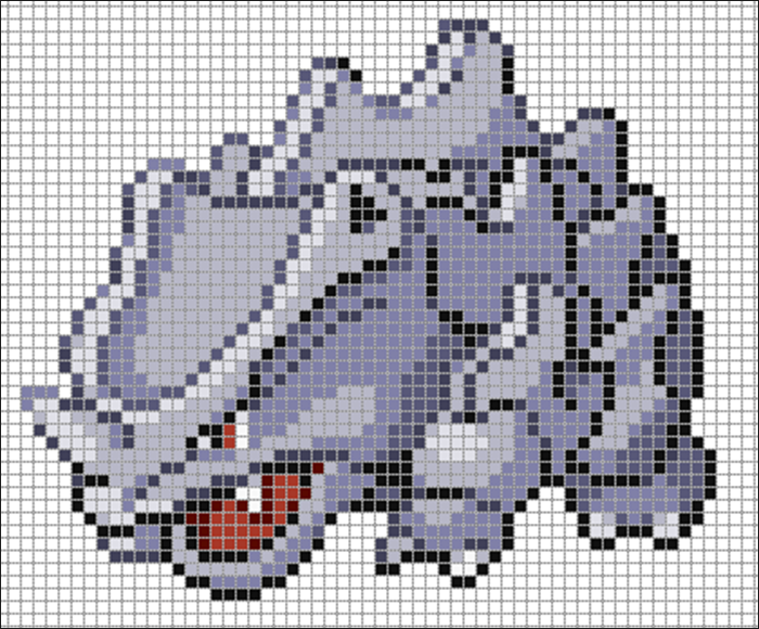 Minecraft Pixel Art Rhyhorn