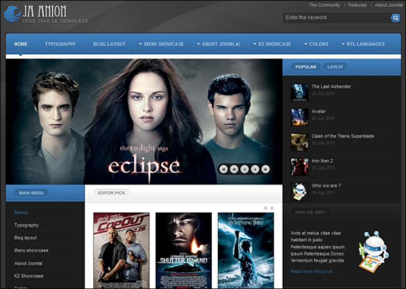Movie Joomla Templates & Themes | Free & Premium | Creative Template