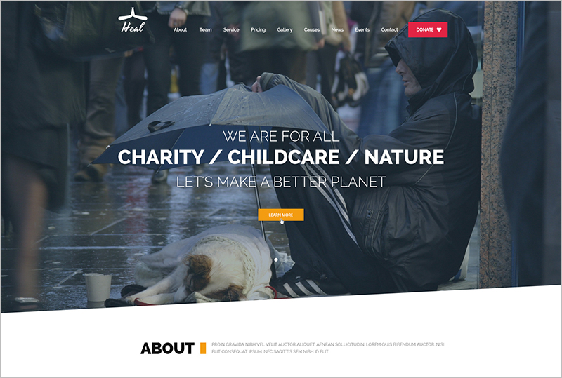 One Page Charity HTML Template