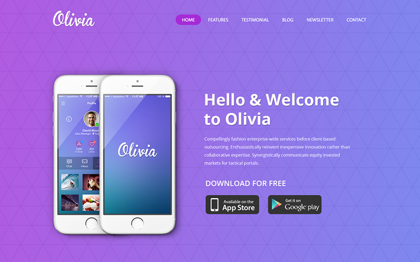 One Page Landing page Design Free PSD Template