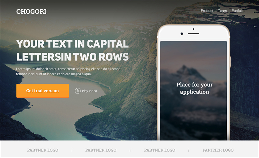 PSD Template Landing Page