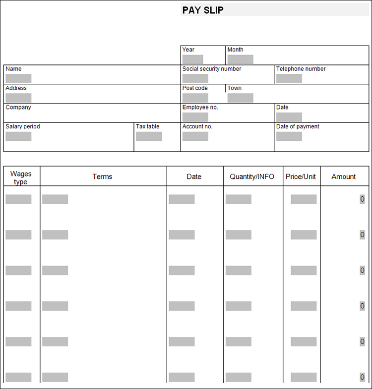 Pay Slip Template ...  Payslip Template Free