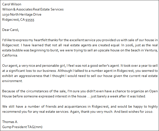 Personal Recommendation Letter For House Agent