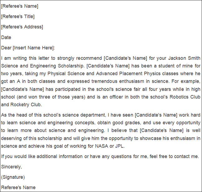 Personal Reference Letter For Scholarship