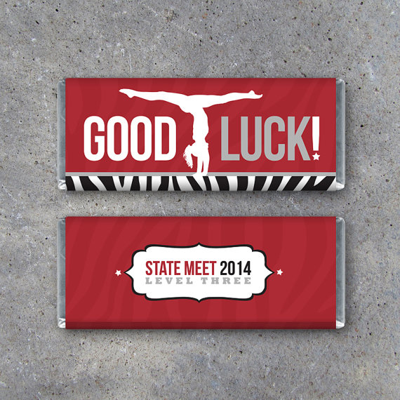 Personalized Gymnastics GOOD LUCK Candy Bar Wrapper