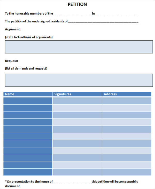 Petition template free pdf word documents download for Petition template to print