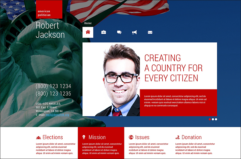 Political Candidate Responsive WordPress Theme